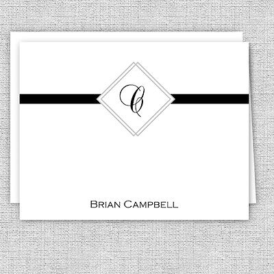 Classy Men's Personalized Note Cards, Initials Masculine Stationery, Monogram (Monogrammed Note)