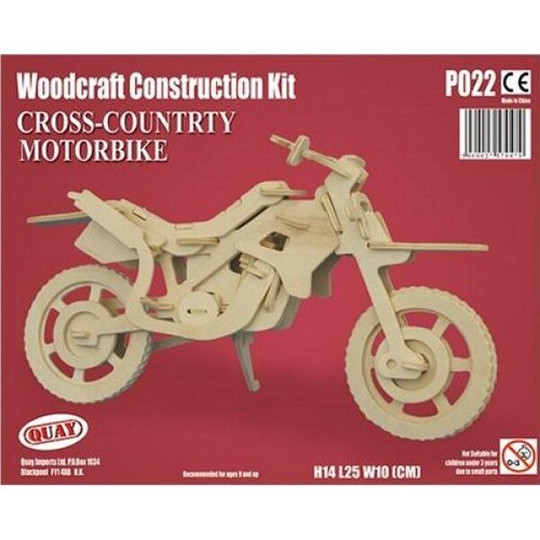 CROSS COUNTRY MOTORBIKE Woodcraft Construction Kit -Wooden Model For KIDS/ADULTS