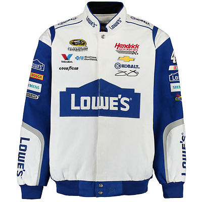 Jimmie Johnson Nascar Jackets (Nascar Jimmie Johnson JH Design Lowe's White Twill Cotton  Jacket   )