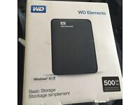 WD Elements 500GB portable NEW