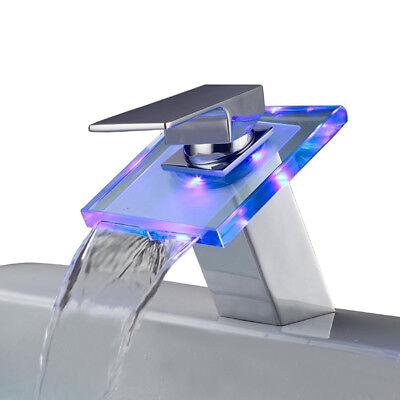 Iluminado Cristal LED Grifo Agua Grifería Cuarto de Baño Cascada Lavabo