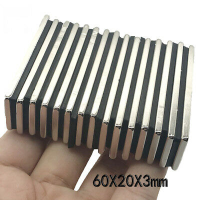 Strong Rare Earth Neodymium N52 Neo Fridge Bar Block Magnet Strip 60 X 20 X 3 Mm