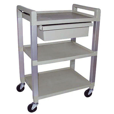 3-shelf Molded Cart With Aluminum Uprights With Drawer White Or Gray 1 Ea