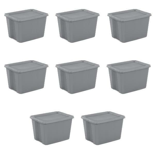 8 Plastic Storage Containers Stackable Tote Box with Lid 18