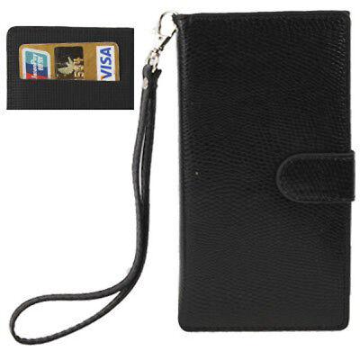 Book Tasche für Apple  iPhone 5 5S SE  in schwarz Etui Case Cover mit Trageband