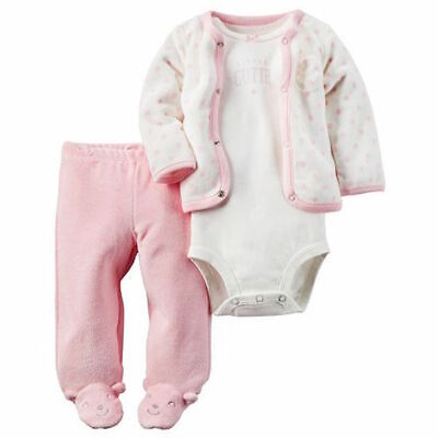 - Carters 3pc Set Cardigan Bodysuit Footed Pants Pink Baby Girl Size 3 6 Months