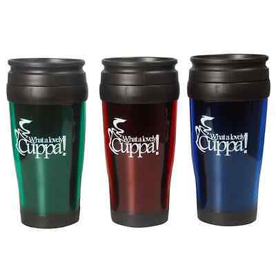 Travel Mug 400ml Red Blue Green Colours Screw on Lid With Drinking Slide Cheap!