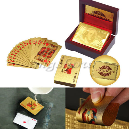 24K Gift Karat Gold Foil Plated Poker Playing Card With Wood  And Certificate