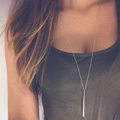 Long Lariat - Women Silver Long Chain Lariat Drop Charm Bar Necklace Jewelry Pendant