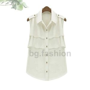 Sz8-16 Ladies OL Chiffon Lapel Frills Sleeveless Shirt Vest Tank Top Blouse