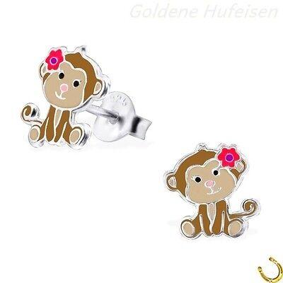 Affe Ohrstecker 925 Echt Silber Ohrringe Kinder Mädchen Top Geschenkidee **