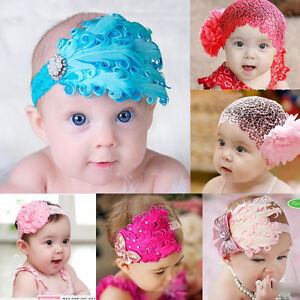 New-Infant-Baby-Toddler-Feather-Flower-Diamond-Soft-Headband-Headwear-Hair-Band