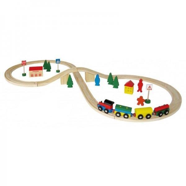 Holzeisenbahn Set 40 Teile Schienen bunter Holzzug Haus Auto Figuren