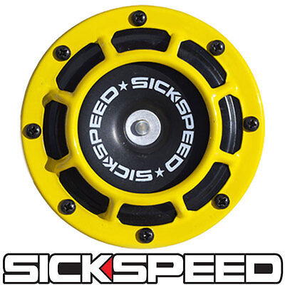 SICKSPEED YELLOW SUPER LOUD SINGLE ELECTRIC BLAST TONE HORN MOTORCYCLE 12V M8