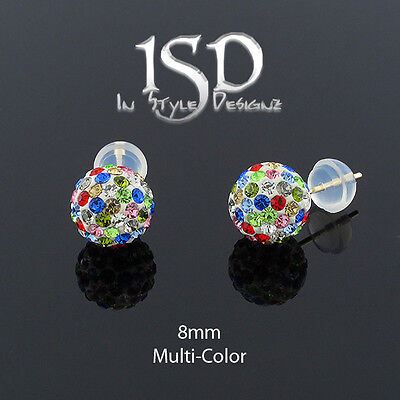 14k Yellow Gold Womens 8mm Multi Color Austrian Crystal Disco Ball Stud Earrings (Colored Disco Ball)