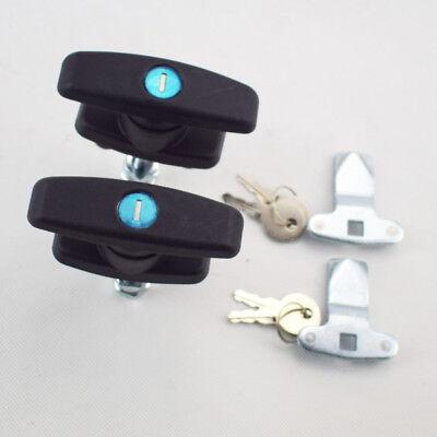 2pcs T Handle Latchlock Keyed Alike Black Coated For Cabinets Smith Gear Zinc