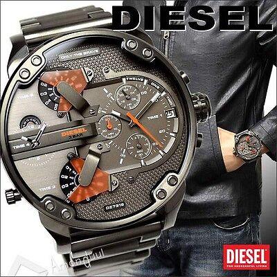 Diesel Original DZ7315 MR DADDY 2.0 Multiple Time Chrono Gunmetal Watch 57mm