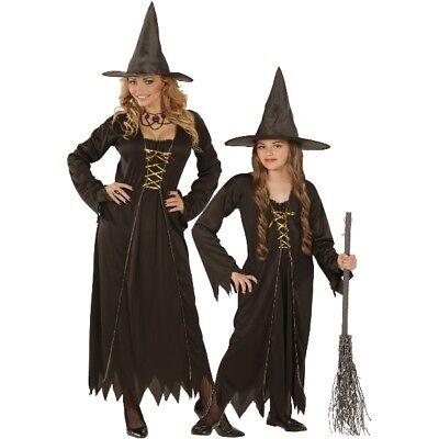 HEXEN KOSTÜM für Damen & Mädchen Halloween - Kleid mit Hut - schwarz Hexe NEU ()