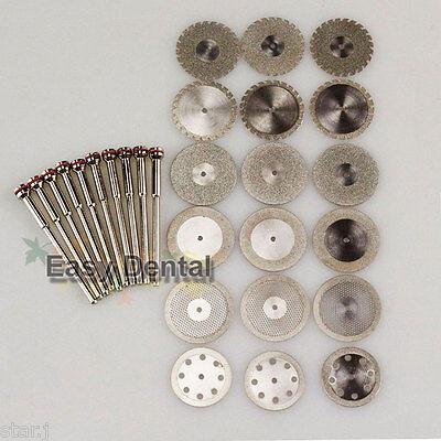 18pcs Dental Diamond Polishing Wheel Saw Disc Rotary Tool10pcs Shank Mandrel