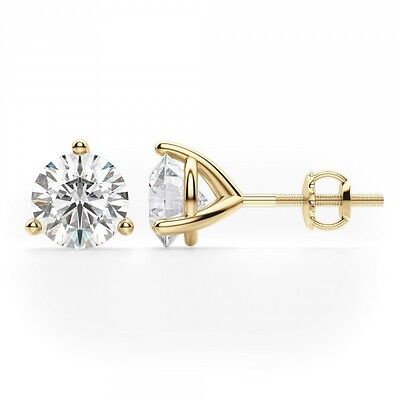 18k Brilliant Cut Stud - 0.50CT Round Solid 18K Yellow Gold Brilliant Cut Martini ScrewBack Stud Earrings