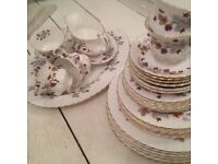 "Royal Albert ""Lorraine"" bone china dinner set, teacups and saucers, gravy boat, side plates"