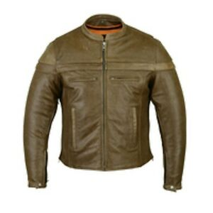 DS701R Men's Brown Sporty Scooter Jacket