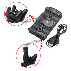 USB Dual Charger Charging Dock Station for Sony PS3 Move Wireless Controller