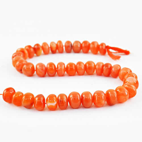 420.00 Cts / 13 Inches Natural Untreated Drilled Orange Carnelian Beads Strand