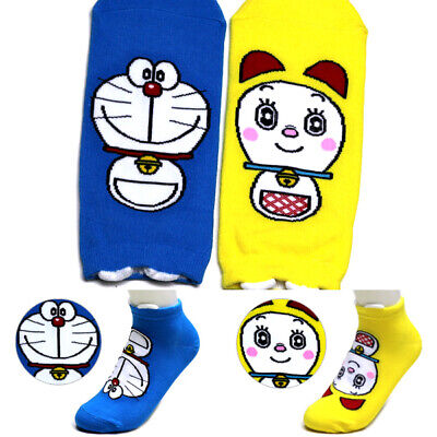 2 Pairs Doraemon Character Socks Big Kids Girl Boy Made in Korea Unisex Socks