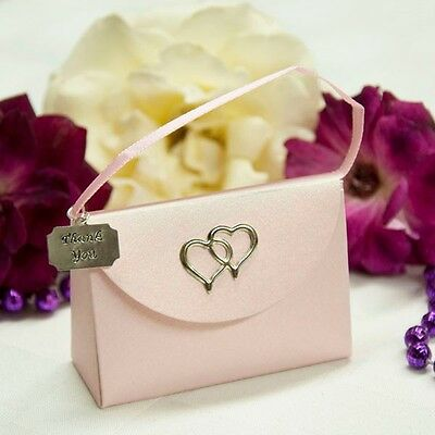 20 Pink Purse Favor Boxes with Thank You Charm with Hearts Gift Box Jewelry Box (Baby Shower Thank You Gifts)
