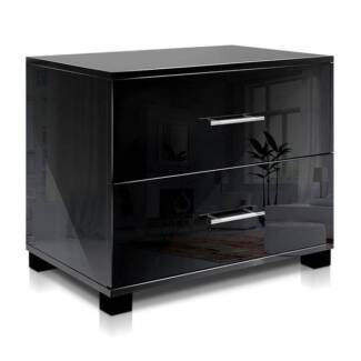 Solid bedside table with shelves and drawer whiteblack bedside glossy bedside table blackwhite watchthetrailerfo