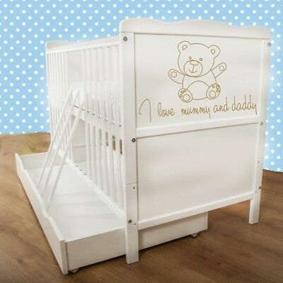 Kinderbett Bett Schienen (Neu Weiß Hölzern Baby Kinderbett Krippe/Matratze/Zahnen Schienen/Schublade)