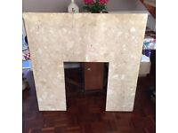 Marble effect fire place backing