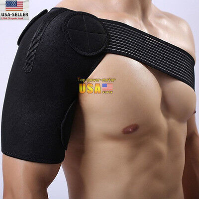 Black Shoulder Brace Support Strap Wrap Belt Dislocation Neoprene Pain Band