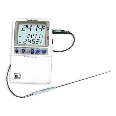 Traceable Hi-accuracy Dual Thermometer One Stainless-steel Probe 1 Ea