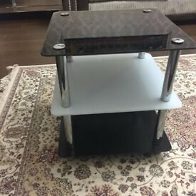 Black glass side table brand new