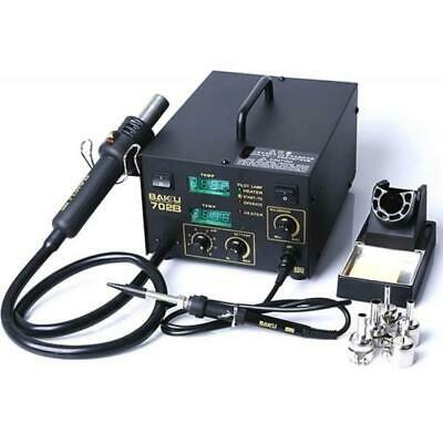 702b 2-in-1 Electric Smd Soldering Station Hot Air Heat Gun 110v With 3 Nozzles