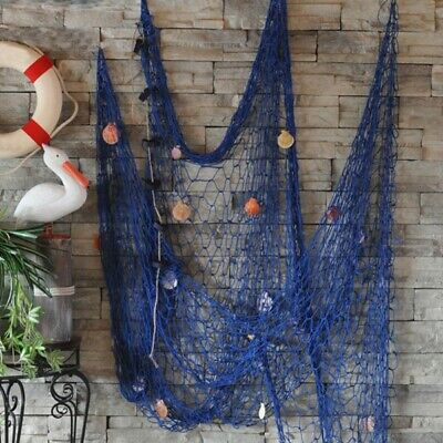 Home Decor Nautical Seaside Beach Decorative Sea Ocean Fish Net Shell Wall Party
