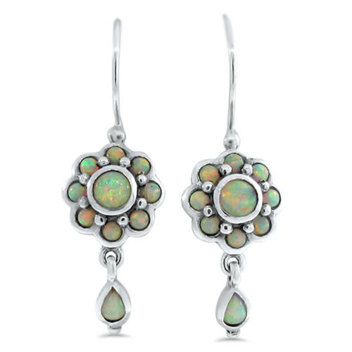 ANTIQUE VICTORIAN STYLE LAB OPAL 925 STERLING SILVER EARRINGS,              #888