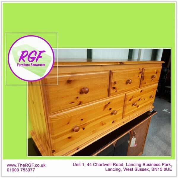 SALE NOW ONSolid Pine LongLow Chest Of DrawersCan Deliver For19in Lancing, West SussexGumtree - SALE NOW ON!! (Sale ends 30/6/17) Was £95, Sale price £76 Lovely solid wood chest of drawers with dovetail joints & solid bases. One very light, tiny chip as seen in pic, otherwise this set is in very good condition Measures H66cm, W141cm, D43cm...