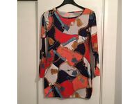 Navy, Red & Orange Tunic Top With Gold Chain Detail - New