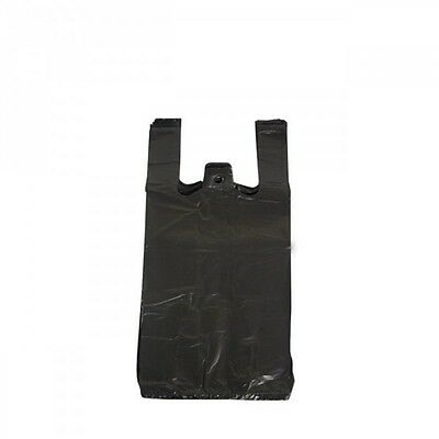 1000 Strong Bottle Black Vest Carrier Bags 11x17x21