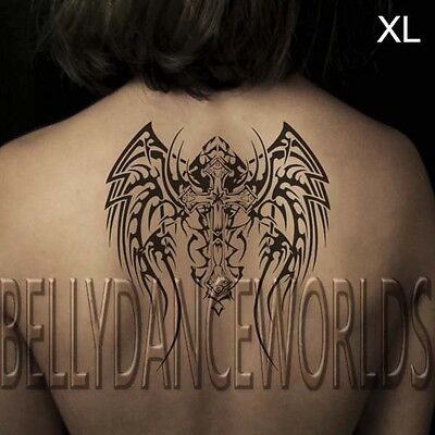 SMALL OR LARGE BLACK CHRISTIAN CROSS ANGLE WINGS TOTEM TEMPORARY TATTOO STICKER](Black Angle Wings)