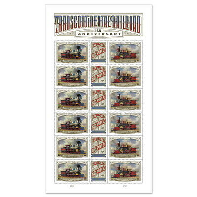 USPS New Transcontinental Railroad Pane of 18