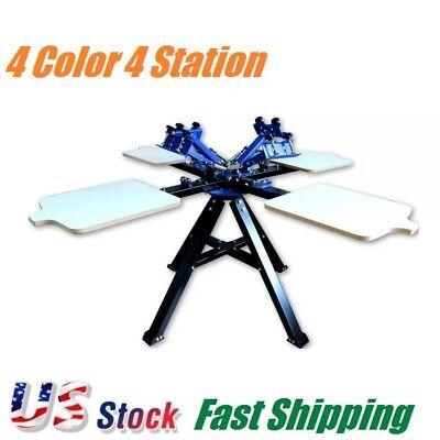 4 Color 4 Station Double Wheel Silk Screen Printing Machine Press Equipment