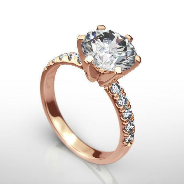 Women Real Colorless Diamond Round Ring 14k Rose Gold Red 1.56 Ct Size 7 8 9