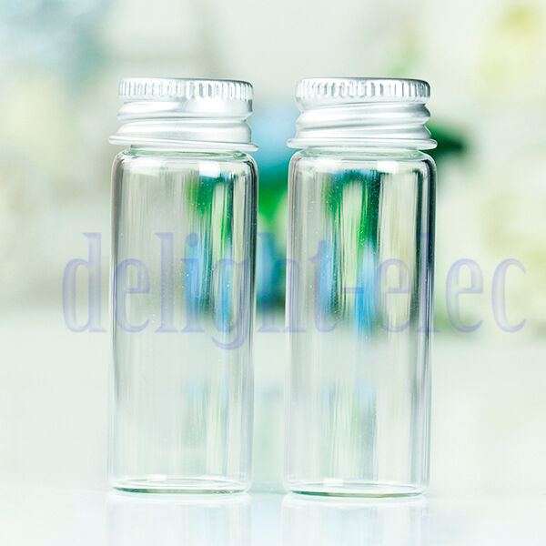 10Pcs Small Tiny Empty Clear Bottles Glass Vials 22x60mm With Screw Lid 14ml DE