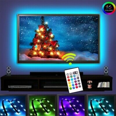 5V 5050 30SMD/M RGB LED Strip Light Bar TV Back Lighting +USB Remote