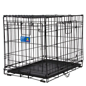 """WIRE DOUBLE DOOR DOG / PUPPY CRATE 36"""" WITH DIVIDER"""