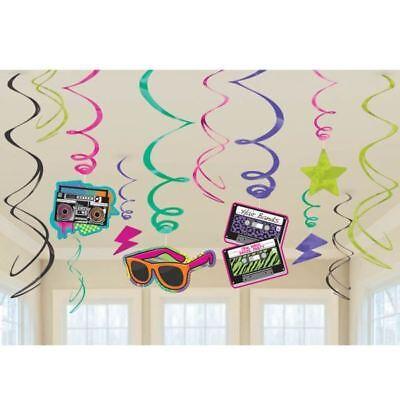 Totally 80s Hanging Swirls Decorations Retro 1980s Birthday Party Decorations (1980 Party Decorations)